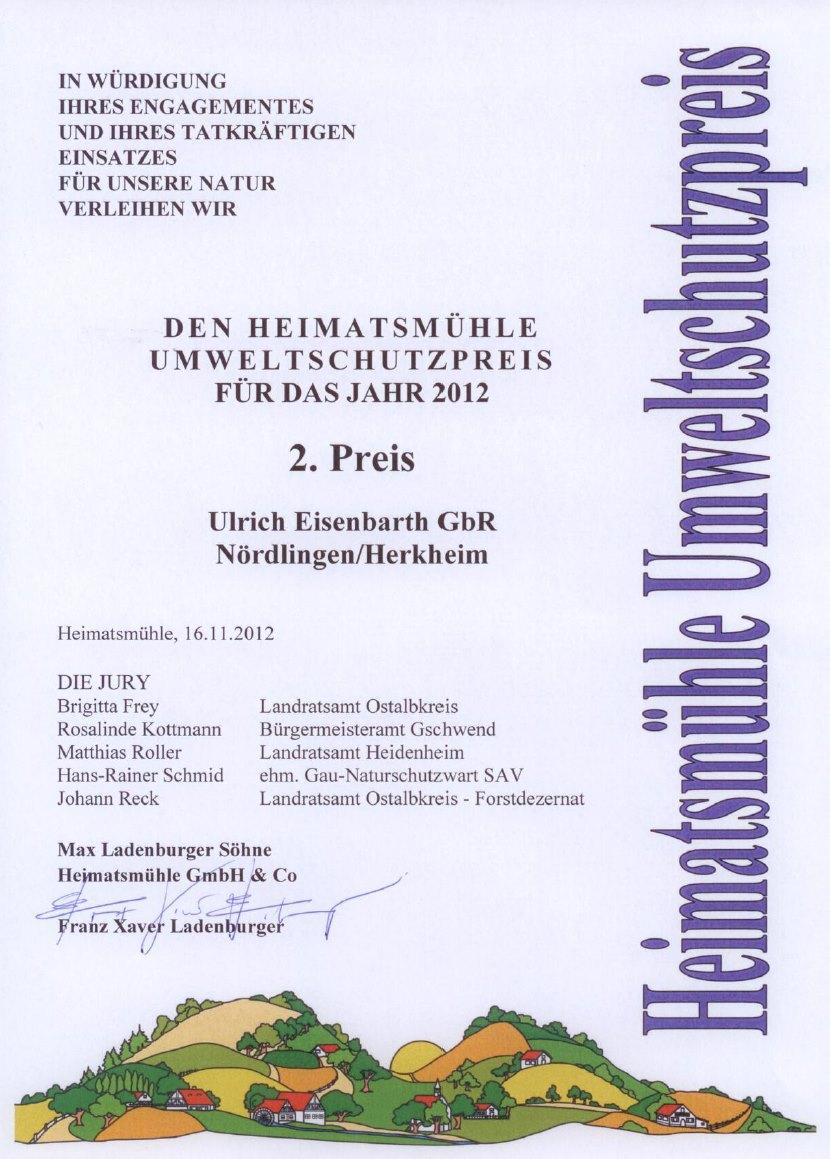 Urkunde Umweltschutzpreis 2012