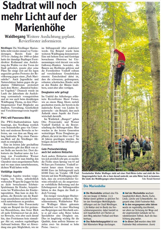 Zeitungsartikel: Mehr Licht auf der Marienhöhe