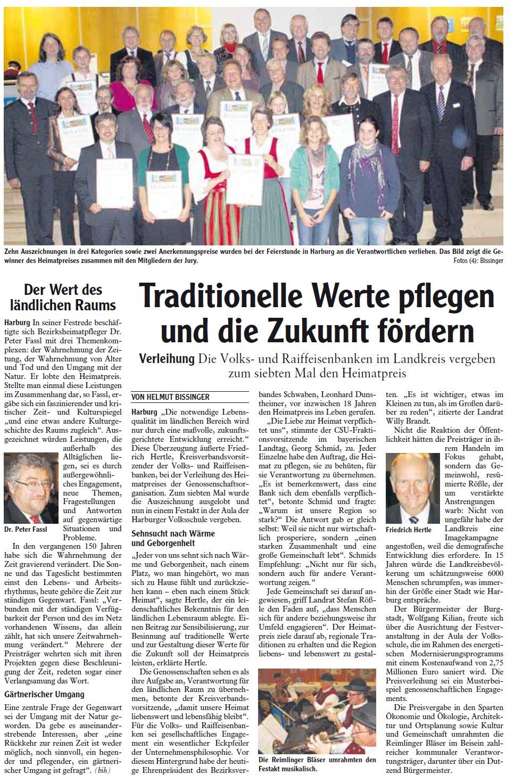 """Zeitungsartikel """"Traditionelle Werte pflegen und die Zukunft fördern"""""""